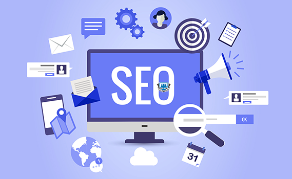 Computer with SEO written on it and surrounded by SEO activity icons