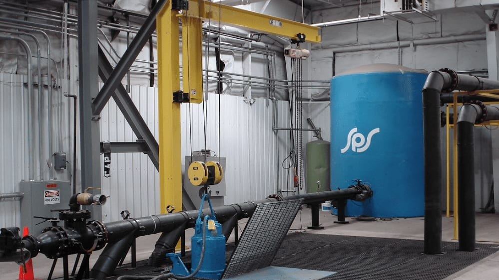 SPS's custom-built 30,000 gallon test pit/surge tank ensures mechanical and electrical integrity in the pumps we build and repair.