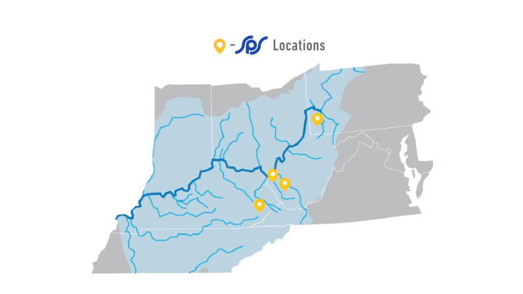 Service Pump and Supply locations up and down the Ohio River Valley.