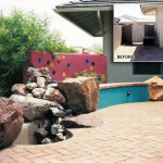 Brick patio with waterfall and seatwalls