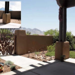 Custom copper fountain at front entry courtyard