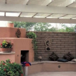 Fireplace with shade ramada and flagstone patio | 2002 ALCA Judges Award