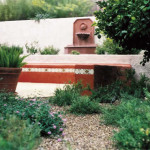 Seatwall and planter wall with wall fountain