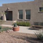 Colored exposed aggregate concrete patio