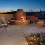 Colored concrete patio with beehive fireplace   2006 ALCA Judges Award