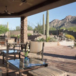 Outdoor living area with flagstone patios   2004 ALCA Award of Excellence