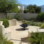 Flagstone patio with seatwalls and raised planters   2008 ALCA Award of Excellence