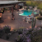 Colored stamped concrete patio and pool deck   2007 APLD Gold Award