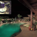 Renovated outdoor living area with new porch roof and colored stamped concrete patio/pool deck | 2007 APLD Gold Award