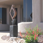 Penstemon and Art Feature at Entry