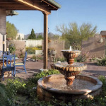 New outdoor living area with Mexican fountain and brick paving   2005 ALCA Judges Award   2008 APLD Merit Award