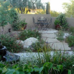 Lush and water efficient entry courtyard planting with flagstone seating area | Monrovia Nurseries 2011 Distinctively Better Plant Design Award