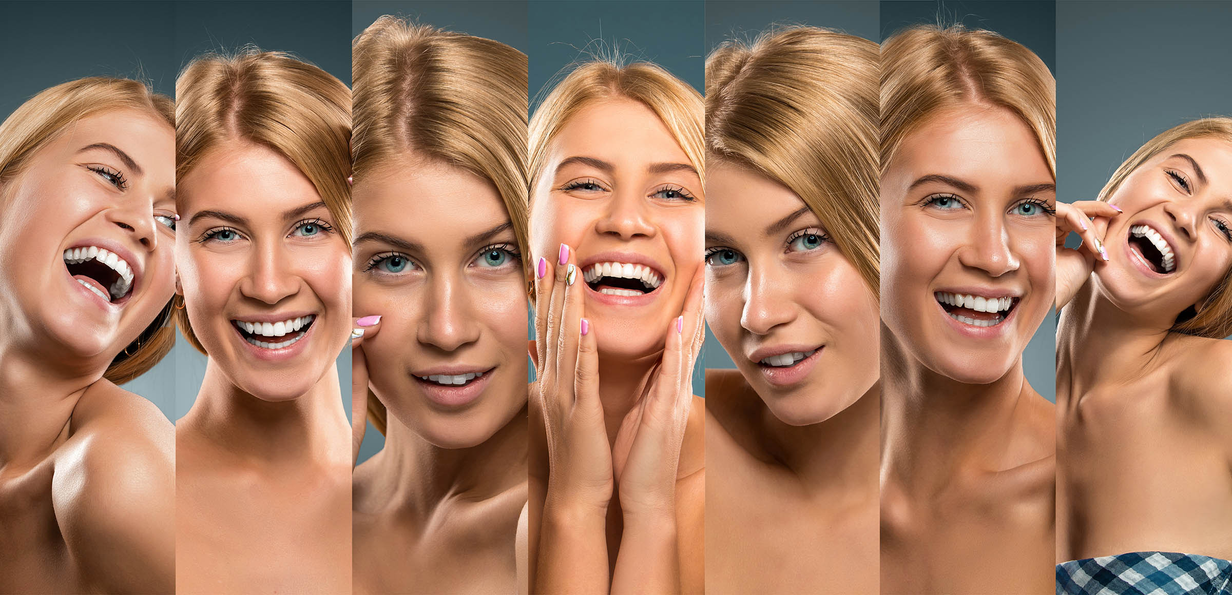 Collage of smiling girl portraits, Young woman smiling and having fun. Professional studio shot.