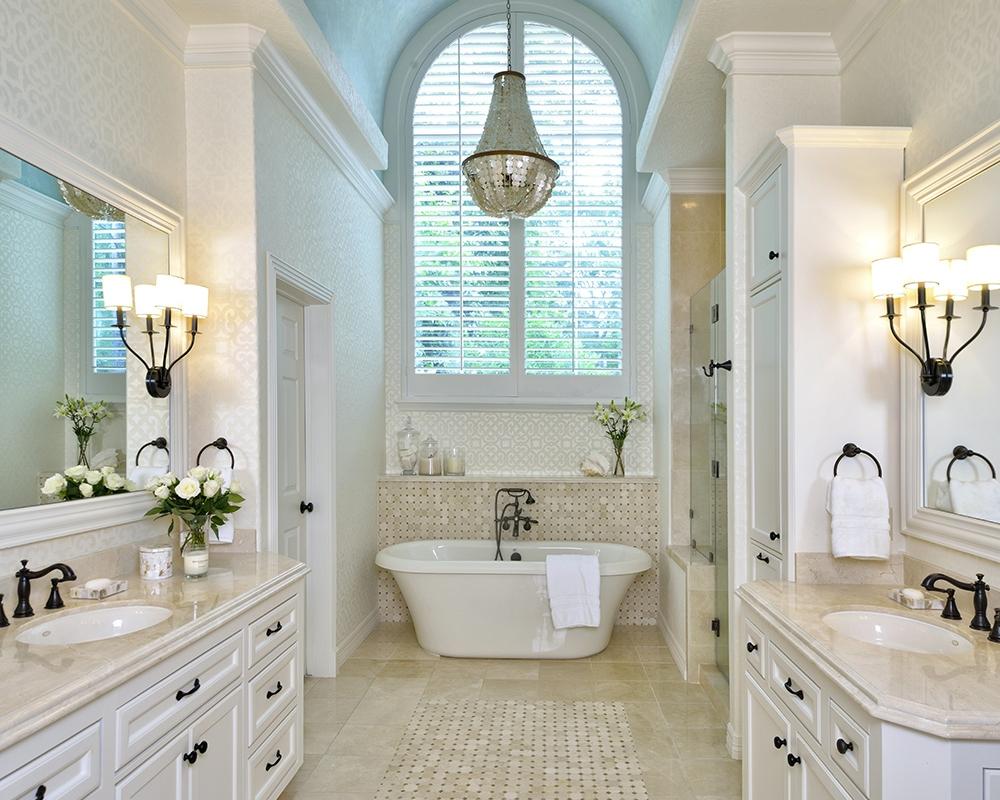 Bathroom+remodel+with+blue+barrel+vault+ceiling+and+capiz+shell+chandelier