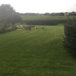 North view down lawn to bonfire ring with maze beyond that and corn field further in the distance.