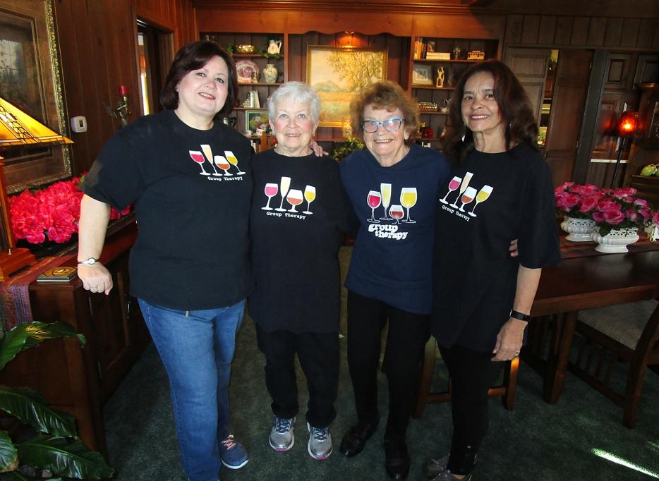 Grouop of four senior ladies at Annville Inn for girlfriends' getaway.