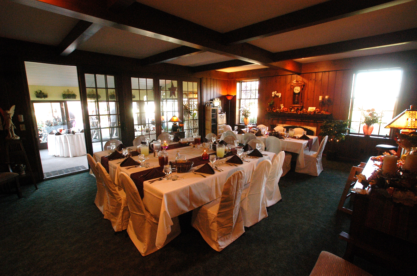 Annville Inn's Main Dining Room reset to host wedding party for luncheon.