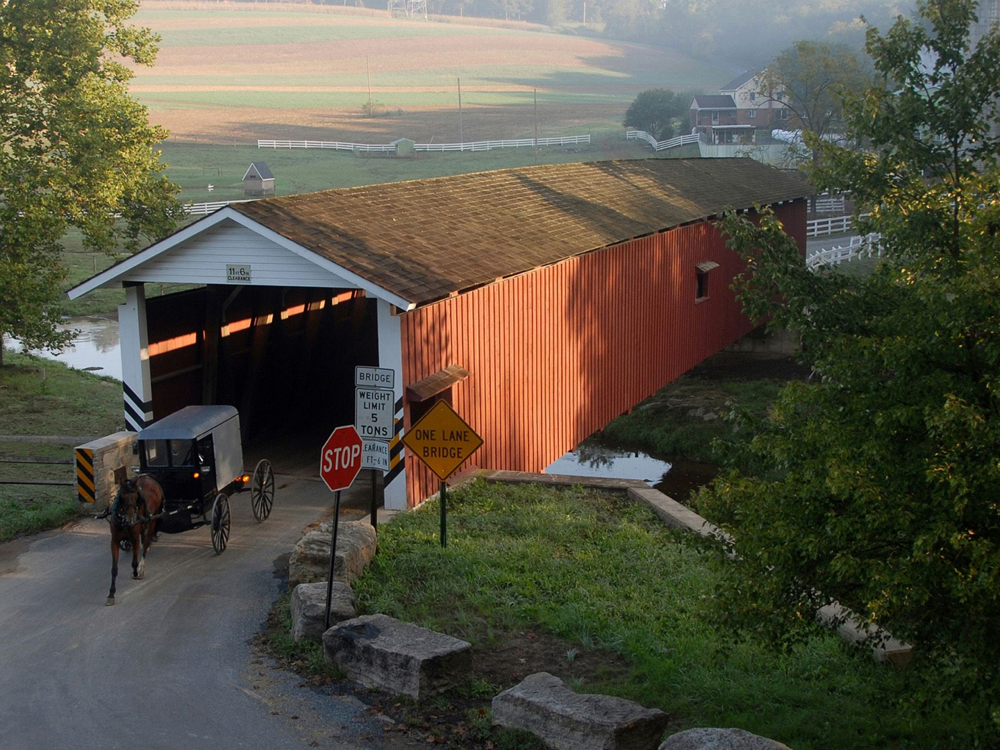 Amish buggy exiting a lng covered bridge