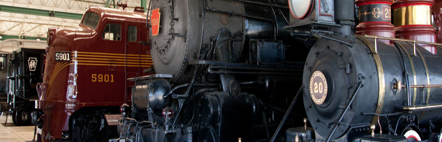 Large railroad locomotives in a museum