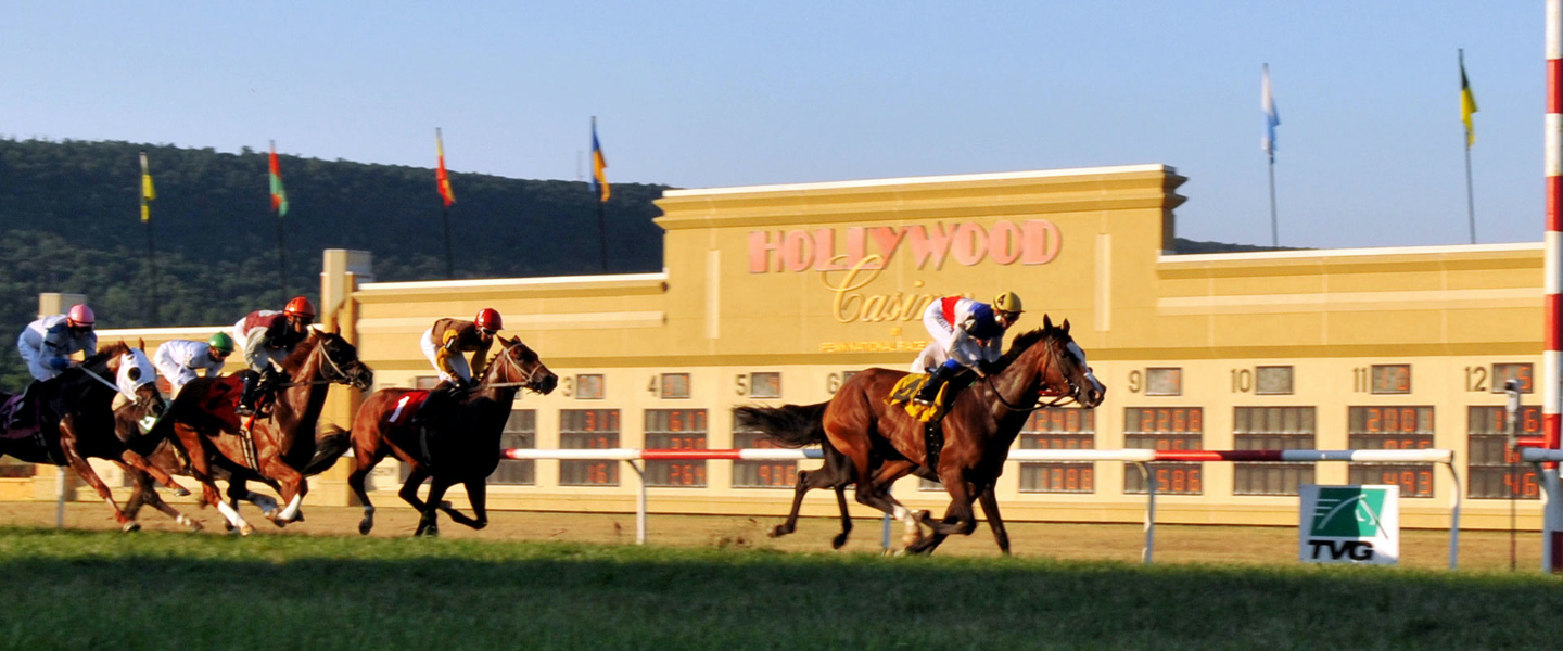 horses running the track at Hollywood Casino
