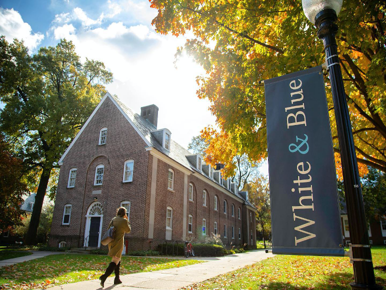 "college campus with brick building and light post banner saying ""white and blue"""