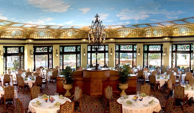 Circular Dining Room at Hotel Hershey, ceiling painted like sky