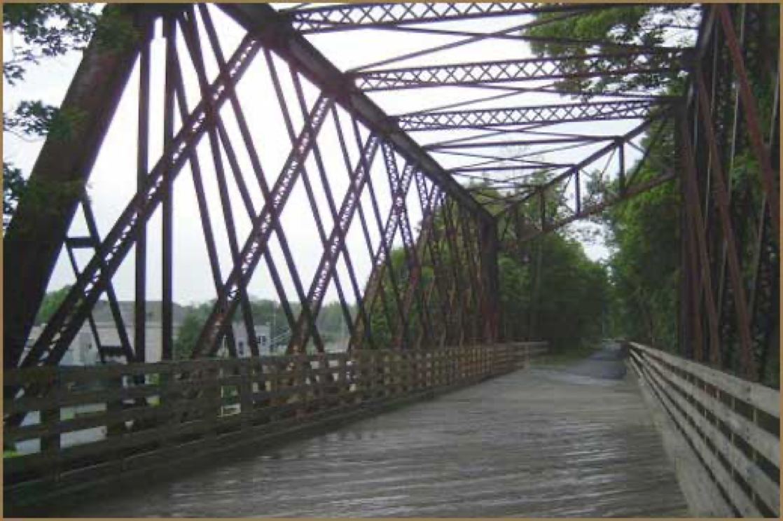 old railroad bridge converted to a walking path bridge