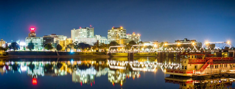 Nighttime cityscape of Harrisburg, PA