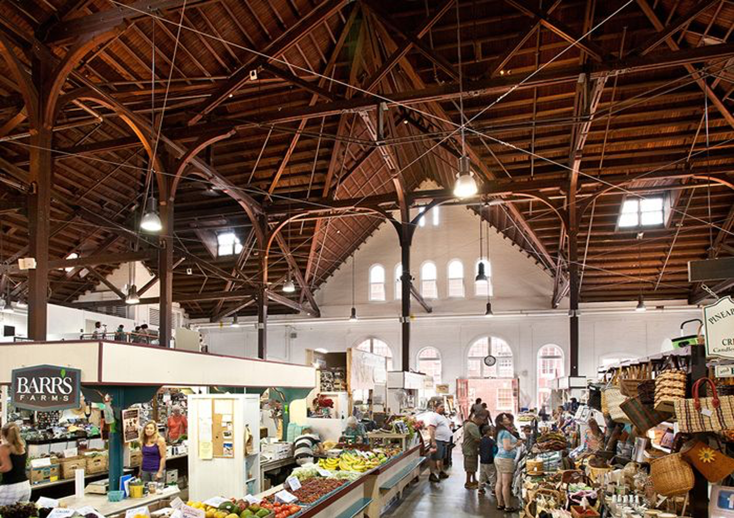 sweeping view of massive farmer's market