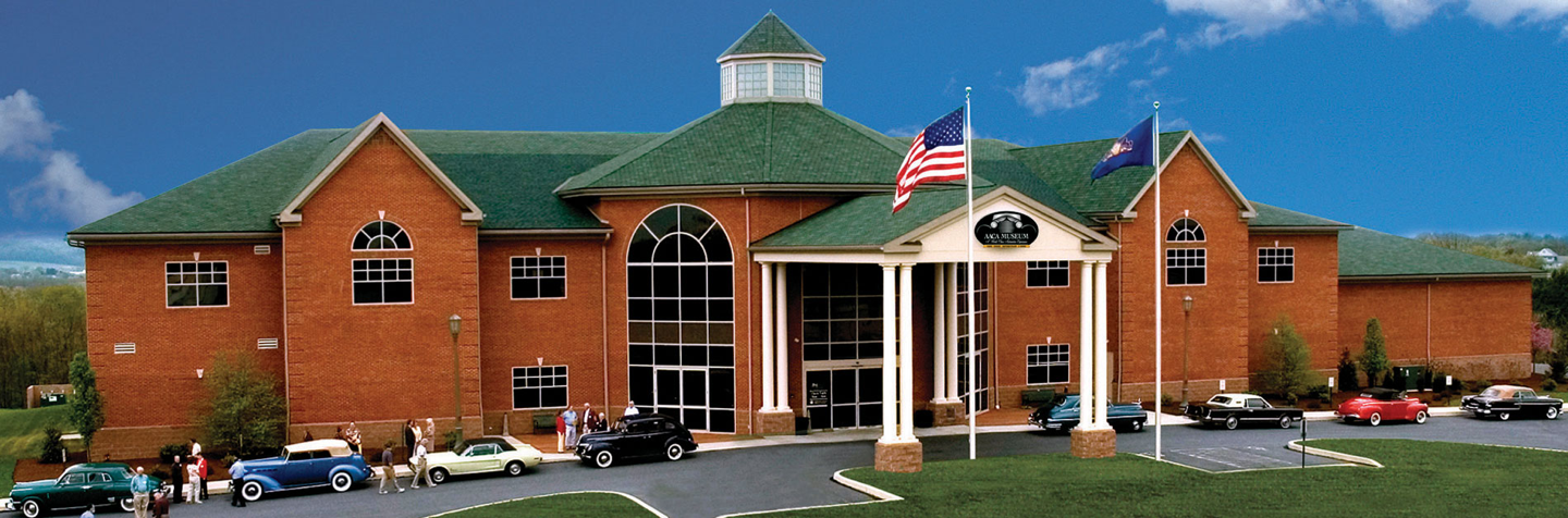 Exterior of Antique Automobile Club of America Museum with classic cars in front