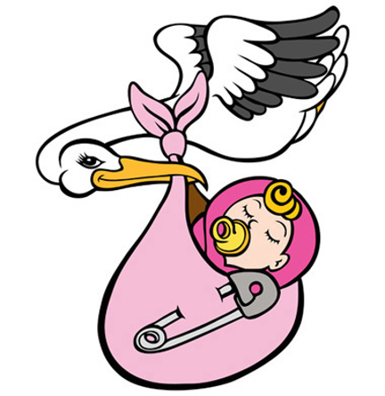 Cartoon of stork carrying a bundle with a baby in it
