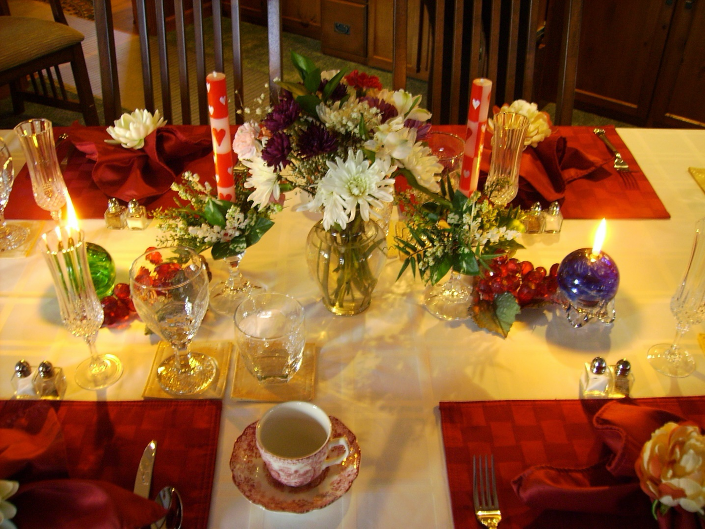 Valentines Table Setting for Breakfast