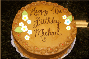 Birthday cake saying happy 40th