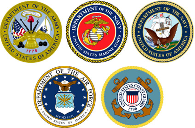 illustration of patches from various branches of U.S. Military