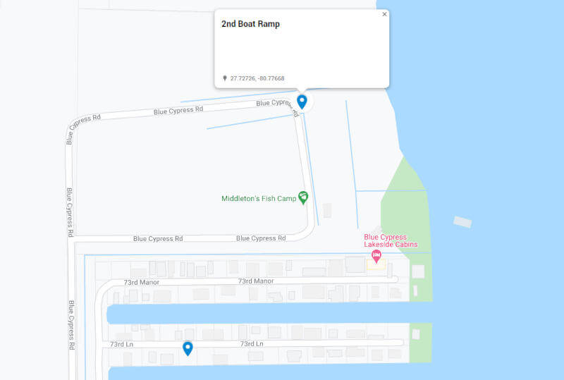 Map to 2nd Boat Ramp