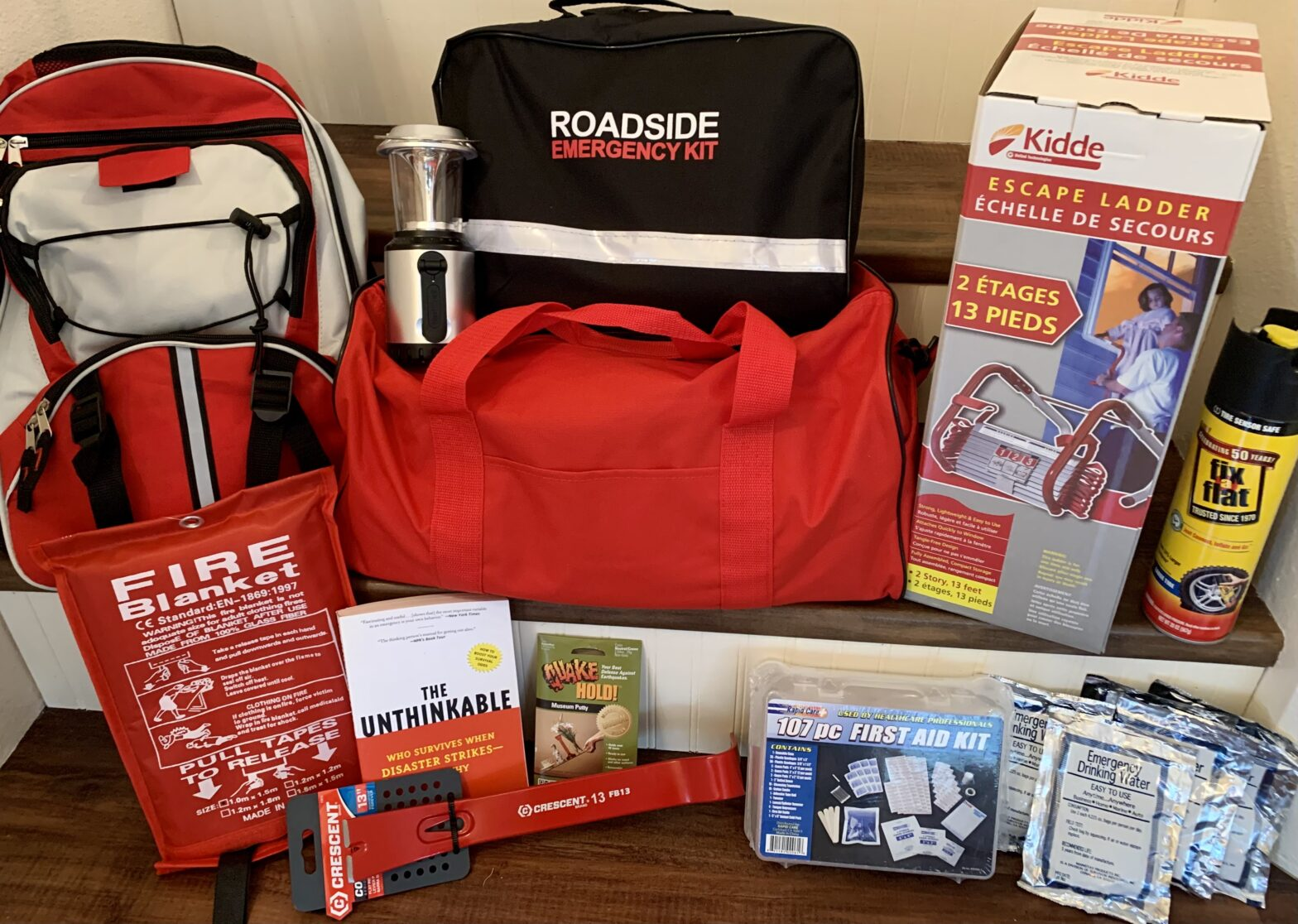 Several emergency kits and items displayed