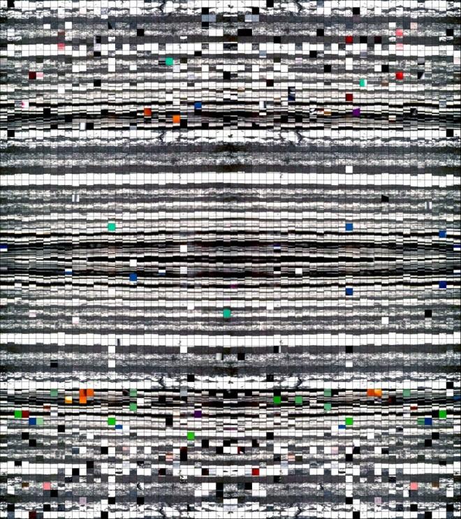 """Finite Field B"", 2014 C- print on aluminum 43 x 38.5 inches"