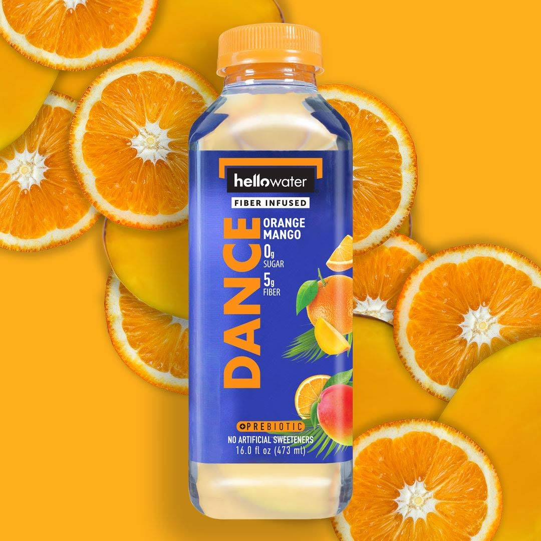 hellowater- fiber infused DANCE orange mango flavored water