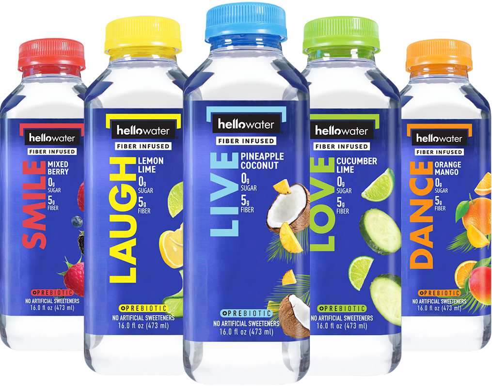 hellowater- fiber infused family line up SMILE (mixed berry), LAUGH (lemon-lime), LIVE (pineapple coconut), LOVE (cucumber lime), and DANCE (orange mango) flavored water