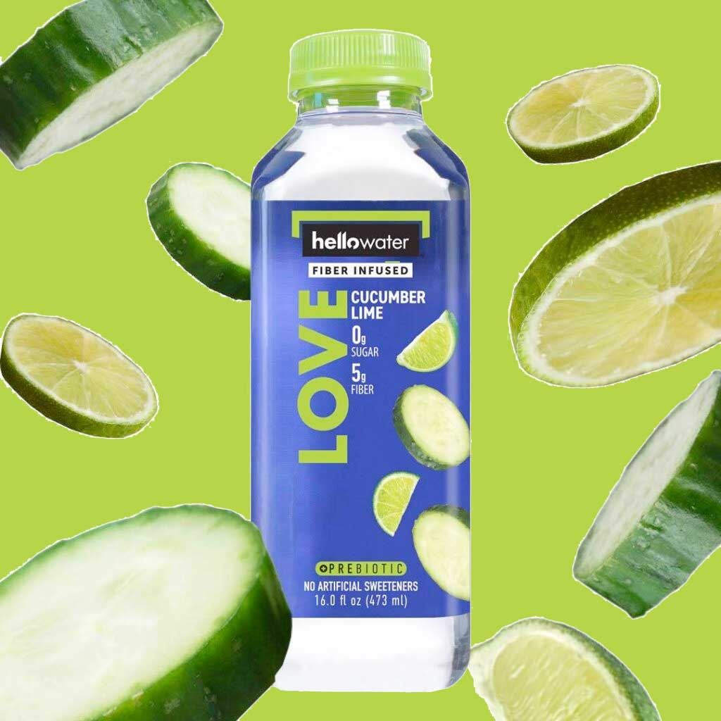 hellowater- fiber infused LOVE cucumber lime flavored water