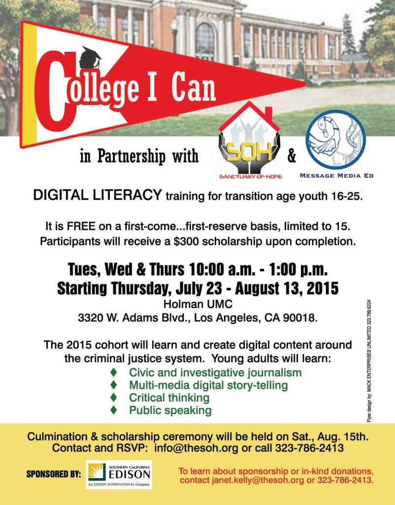 College I CAn Digital Literacy Program July 2015