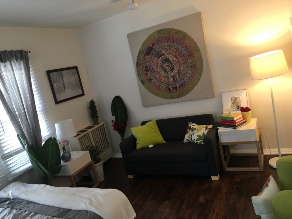 Bernice's apartment furnished and decorated by A Sense of Home