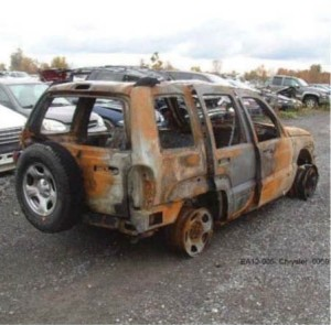 Jeep Liberty burned up by gas tank fire