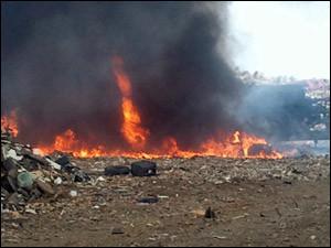 anguilla landfill on fire