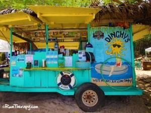 dingys beach bar on honeymoon beach water island