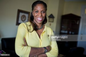 UNITED STATES - APRIL 2: Del. Stacey Plaskett, D-V.I., is photographed in her Cannon Building office, April 02, 2015. (Photo By Tom Williams/CQ Roll Call)