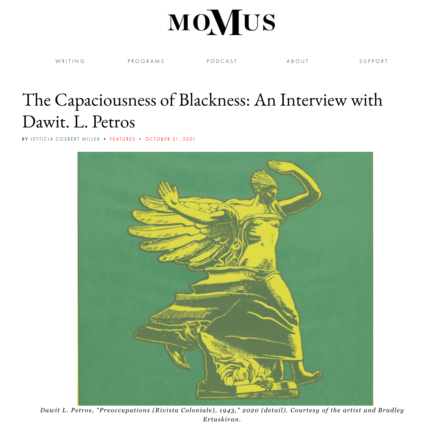 Dawit L. Petros: an interview published on Momus