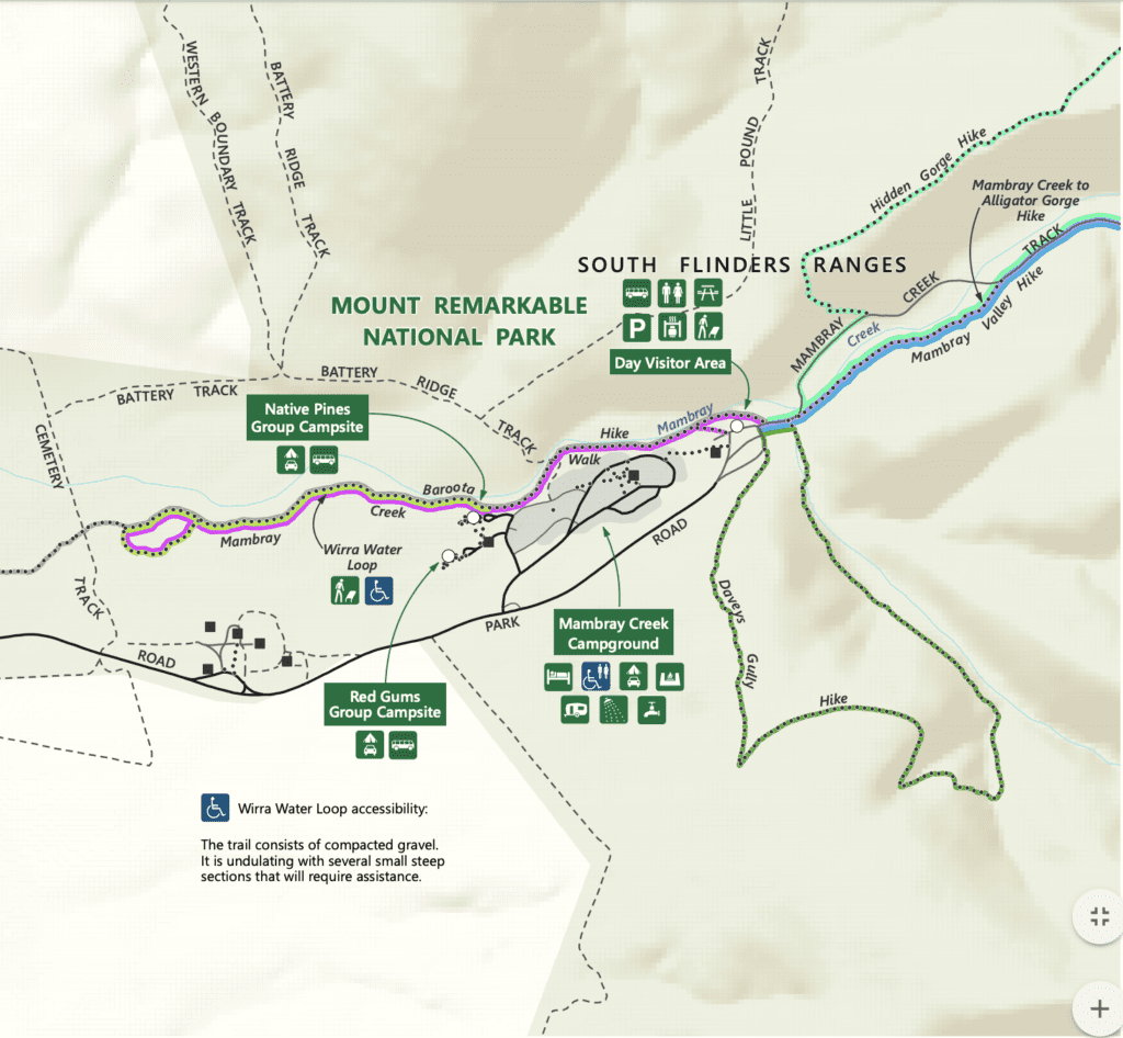 Map of hikes out of Mambray Creek, Mt Remarkable National Park S.A.