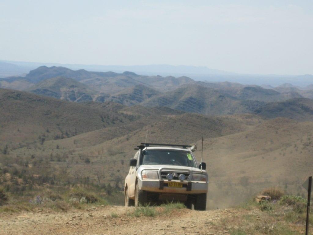 Off-Road Race Vehicle. Climbing on Skytrek trail, Flinders Ranges South Australia