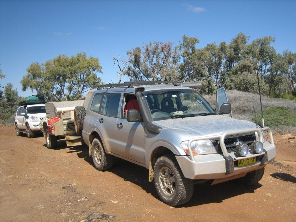 Off-Road Race Vehicle. NP Pajero and Ace camper in Flinders Ranges South Australia